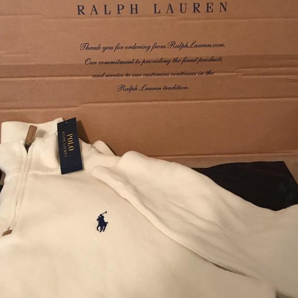 Polo by Ralph Lauren Other - Polo Ralph Lauren Cream/White Half Zip Sweater